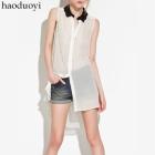 Free Shipping women Black wave loose dovetail white sleeveless shirt ultralarge shirt pleated