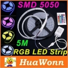 High quality 5M/lot 12V 72W 4 Modes Flexible led strip IP66 Waterproof SMD 5050 300 LED RGB Led Strip Light with controller free shipping