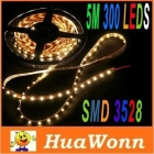 High quality 5M/lot LED Strip Light SMD 3528 300 LED Warm White DC 12V 4.8W/M Non-Waterproof LED Light Strip,free shipping
