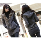 2012 New Stylish Women's Leopard Hoodie Jacket Coat Outerwear Zips Longline Style Dark Gray