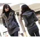 2012 New Stylish Women's Leopard Hoodie Jacket Coat Outerwear Zips Longline Style Dark Gray