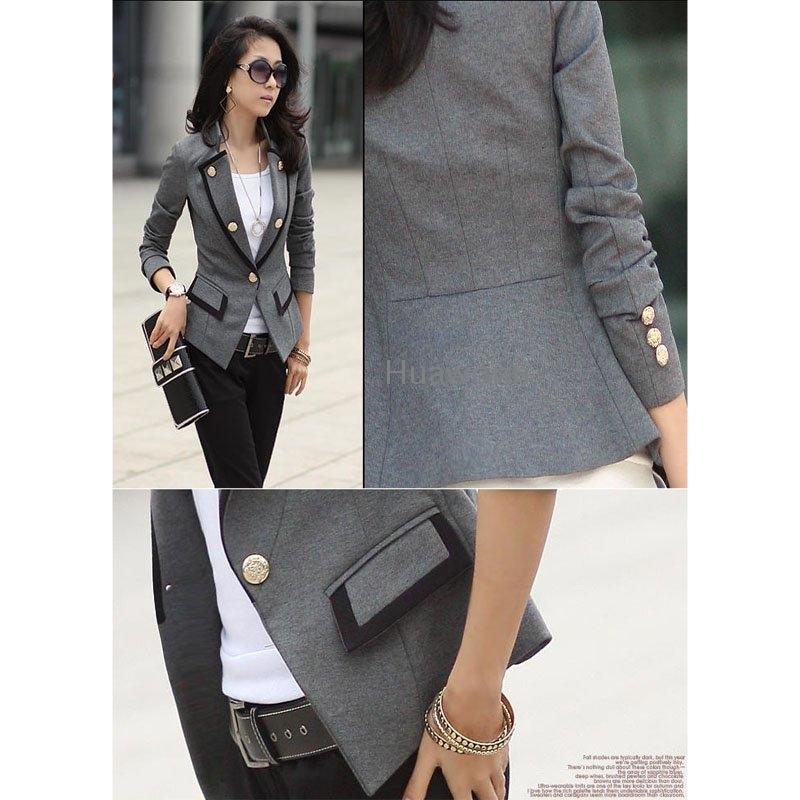 Ladies Grey Blazer Jacket | Fashion Ql