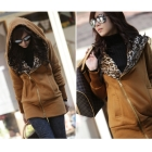 High quality New Stylish Women's Leopard Hoodie Jacket Coat Outerwear Zips Longline Style Brown
