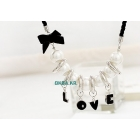 Free Shipping! 50pcs/lot 100% Guaranteed love letter pearl jewelry pendant necklace, wholesale sweater chain, Hot Sale