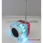 Hot selling---NIZHI Speaker -028 Crystal Speaker Mini Music Speaker LED Digital Speaker USB Portable Speaker for Android Tablet PC Phone Laptop with MP3 USB