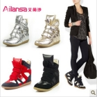 free shipping!2013 new spring autumn and winter Gold and silver color high-top shoes fashion   casual women's shoes!Hot sale
