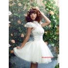 Free Shipping Wholesale latest fashion brand special  skirt chiffon sweet short-sleeved white wedding dress