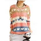 free shipping Han edition hollow-out chromatic stripe sweater woman love sweater loose big yards