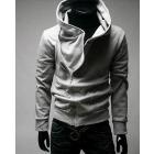 new Spring jacket Men oblique zipper hooded sweater Korean Slim Men's gray hoody sweater
