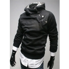 Highest Rate Freeshipping L-3XL Black Grey New Mens Stylish Slim Zipper hoodies jackets Hoody Fur collar Man autaum coat Man's Pullover hoodies Outwear