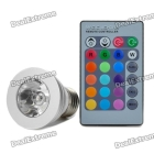 E27 3W 1-LED Multi-Colored RGB Light Bulb w/ Remote Control (AC 85~265V) SKU:120878