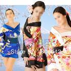 Sexy Gorgeous Printed Silk Satin Yukata Japanese Kimono Lingerie Mini Dress Sleepwear Costume