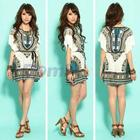 Women's Bohemian Dress Silk Miniskirt Bat Sleeve Round Brought National Dress Mini Dress