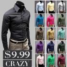 2013 New Arrival Men Slim Fit Korean Style Long Sleeve Candy Color Shirt 17 Colors Plus Size M-XXXL MCL108