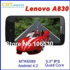 Lenovo A830 6589 3G Qual Core Android 4.2 Smart phone 5.0
