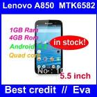 in stock New Lenovo A850 phone MTK6582 Quad Core unlocked Phone 5.5