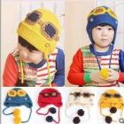 New winter glasses pilot children  hat earmuffs double ball hip-hop wool knitted cap free shipping,MZ79