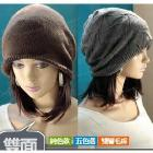 The new couple lover autumn and winter beanies fashion solid color dual sided double-layer wool hat free shipping MZ114