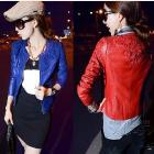 New fashion women's leather coat blue red PU leather outerwear Free shipping HSY8806