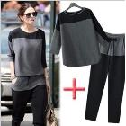 Free Shipping EU Style Chiffon Color Block O-Neck Loose Casual T-shirt Women's Three Quarter Sleeve Top+Pants 2pcs/Set LBR8111