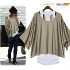 2014 Free Shipping Newest Autumn Fashion Women's Plus Size Batwing Sleeve Loose Short-sleeve T-shirt Twinset Vest Belt LBR9871