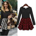 Free Shipping 2014 Spring Newest Fashion Trendy Plaid Dress Long-sleeve Patchwork Round Neck Ladies Dress LBR9083