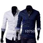 2013 Hot men's long sleeve Stylish Dress Shirts Slim fit casual Shirts Men's wear Tops Blue White Sizes:M/L/XL 15666