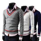 2013 Autumn winter hot-selling new arrival V-neck man's sweater men fashion slim casual knitted sweater 4Color Free shipping