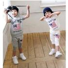 2013 New Arrive Boys Girls Sportsuits Cap-sleeve Hoody Ups Casual Pants Sets Children Clothes Free Shipping