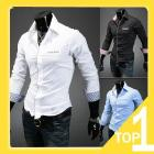 2013 new men's long sleeve slim fit shirt, korean style color matching plaid casual shirt <7f310460d57a17c819816dc920dbb5> xxl white A2071