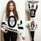 East Knitting Fashion OT-074 Women 2013 Tops Harajuku style sweatshirts london boy plus size pullovers Black white New Arrival