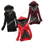 Women's Thicken Warmer Hoodie Coat Fashion Casual Outerwear Hoodie Jacket Coat 3 Colors 3278