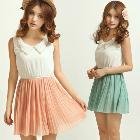 European Women Summer Popular Retro sleeveless petal Collar Chiffon Dress S M L #L0341117