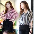 2013 Summer Womens Girls Striped Batwing Short Sleeve Chiffon Tops Blouse Shirt # L034889