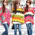 HOT Womens Fashion Loose Bat Batwing Sleeve Bohemian Style Chiffon Casual Flower Geometric T-Shirt Short Tops Blouse # L0341454