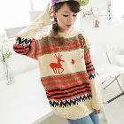 Hot Fashion Womens New Arrival knitting woolen O- Neck Sweater Loose Style with Cute Deer Design Nordic Ethnic Trend L0341551