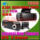 H.264 Full HD 1080P Dual Lens Dashboard Car vehicle Camera Video Recorder DVR CAM GPS Logger/G-sensor
