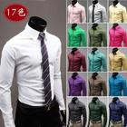 Hot sale !!! 2014 New Arrival,17 Color Size M-XXXL Long Sleeve solid Shirts For Men,Men's shirt blouse