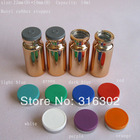 Free Shipping - 300x 10ml UV Gold Glass Vials, 10cc Glass Bottle with flip off cap,1/3OZ cosmetic packaging, essence bottle,