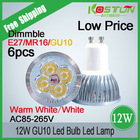 6x GU10 4x3W 12W Dimmable/Non-Dimmable LED Light Lamp Bulb Downlight Led Light Spotlight Led FREE SHIPPING
