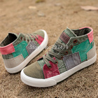 Hot selling! lady high canvas shoes summer & autumn casual shoes sneakers for women Color block decoration top quality