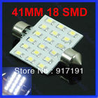 Free Shipping Quickly Delivery 2pcs/lot 41mm Festoon Dome 18 SMD LED Car Interior Bulb Light Lamp White