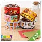 6pcs/lot Free Shipping Office Supply Rilakkuma Decorative Boxed Paper Tape 5styles AG007