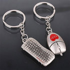 2014 Fashion Silver Keyboard Mouse Key Chain Alloy Ring Chain Set for Lovers Metal 2X MHM134