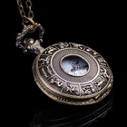 Retro Design Jewelry Unique Antique Style Gold Color Workable Pocket Watch Luxury Animal Grain Engraved Bronze Quartz