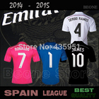 TOP Quality A+++ 2015 Real Madrid RONALDO KROOS JAMES RAMOS 14 15 white /pink /blue /black soccer jerseys camisetas de futbol