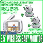 2 Cameras Digital Night Vision Pan Tilt PTZ Zoom Video 3.5 Wireless Monitor