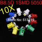 Free Shiping 2014 new 10x B8.5D Car led Gauge 5050 1SMD Speedo Dashboard Dash Side auto Light Bulb xenon Packing Car Styling