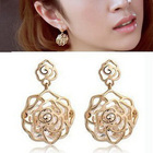 hot selling 2014 Accessories cutout zircon rose stud earring female gold 1167