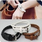 B31 fashion multi-layer leather knitted double layer spirally-wound strap bracelet free shipping